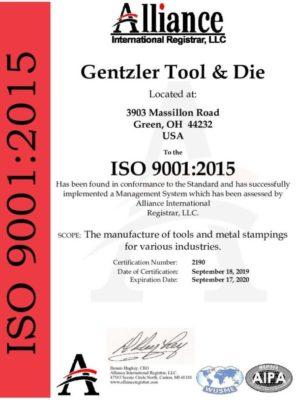Gentzler ISO 9001:2015 Certified