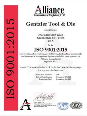 Gentzler-ISO-90012015-AI-cert-09-17-20